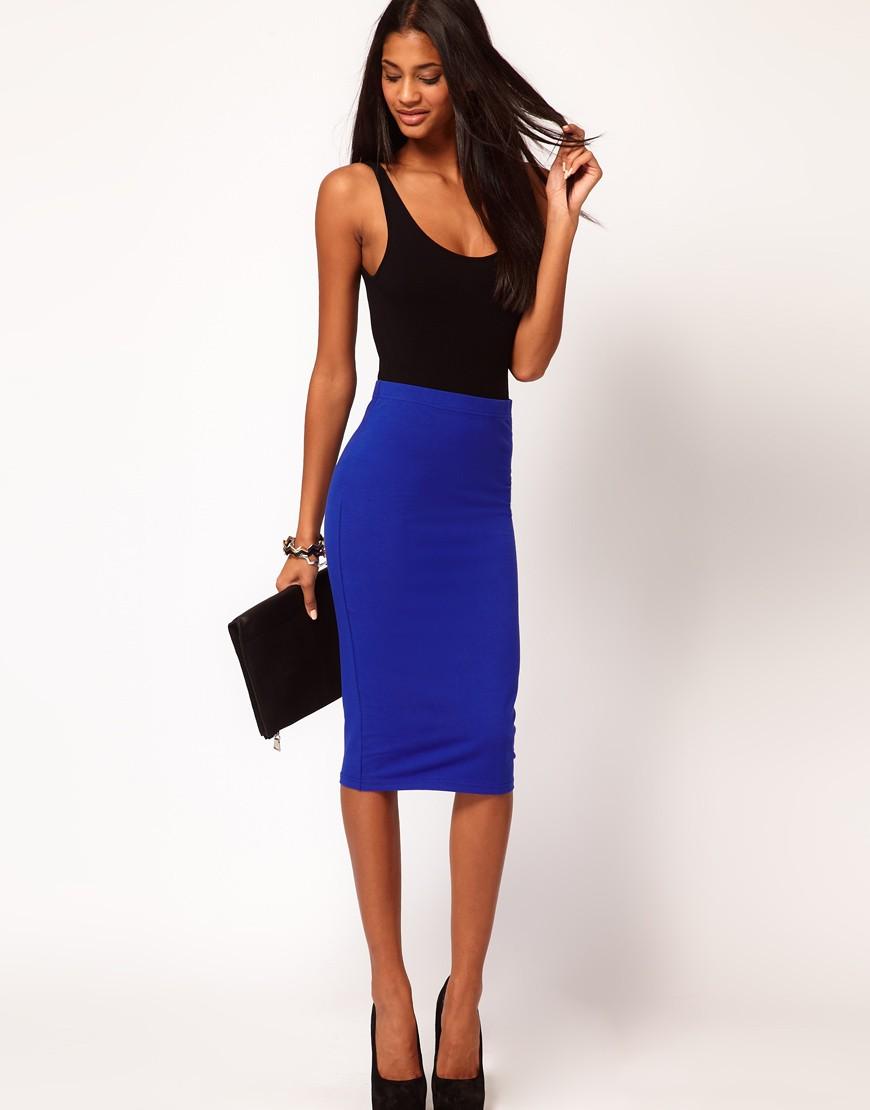 модные юбки 2018: юбка карандаш синяя
