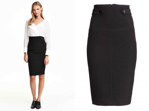 модные юбки 2019-2020: юбка карандаш черная с поясом