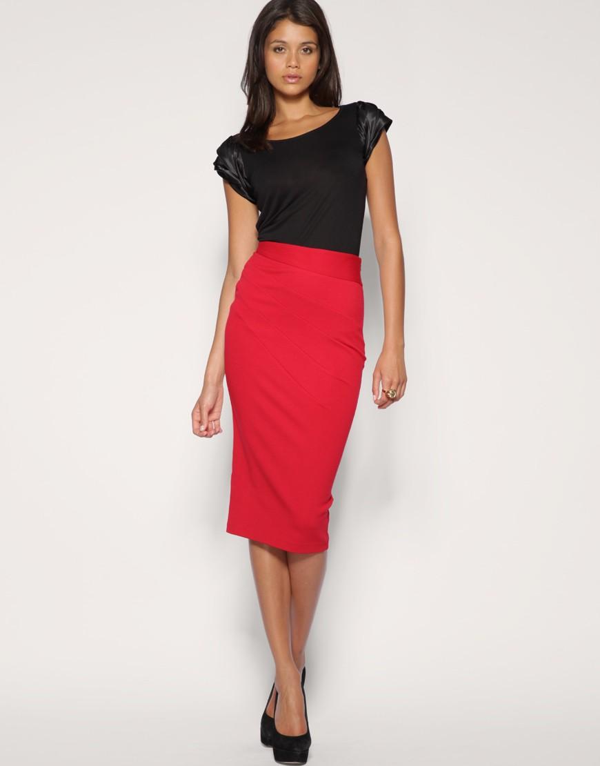 модные юбки 2018: юбка карандаш красная миди