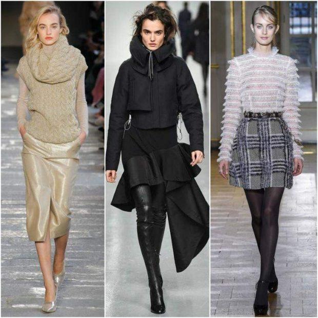 модные юбки 2019-2020: светлая а-силуэт короткая в клетку черная с воланами
