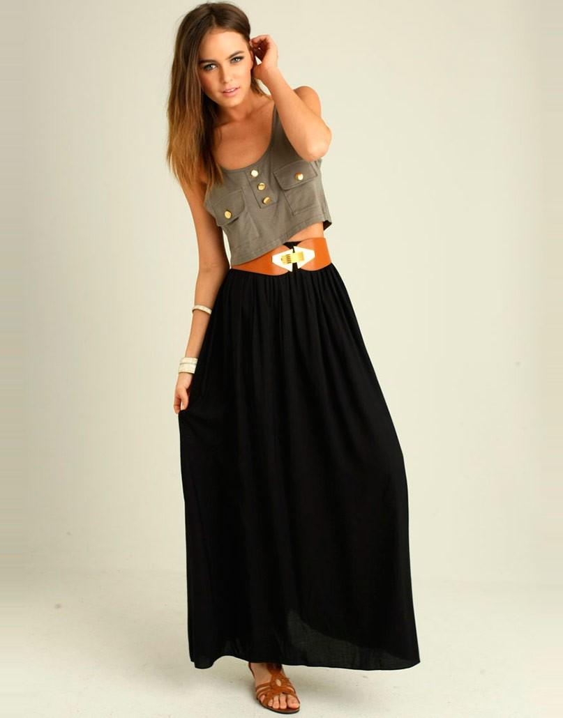 модные юбки 2019-2020: юбка в пол черная простая