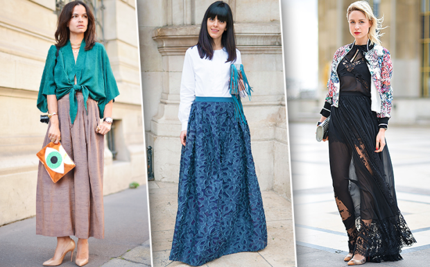 модные юбки 2018: юбки в пол коричневая синяя черная гипюр