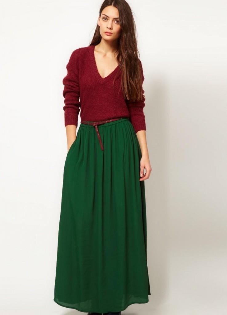 модные юбки 2018: юбка в пол зеленая в складку