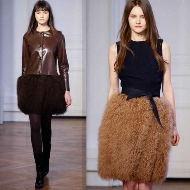 модные юбки 2019-2020: юбки с мехом черная коричневая