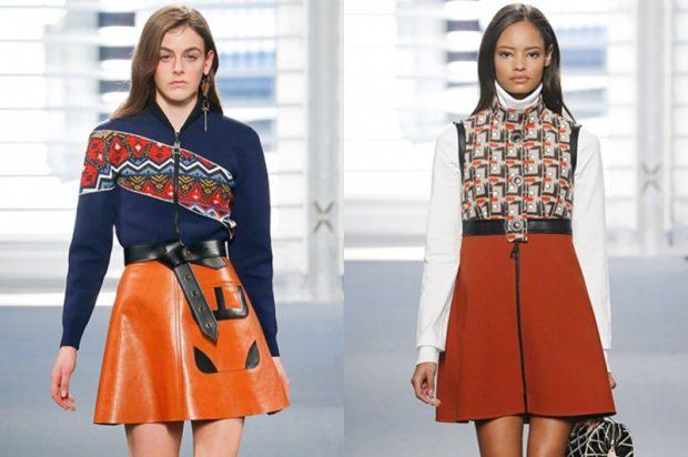 модные юбки 2019-2020: а-силуэт короткая кожаная короткая со змейкой