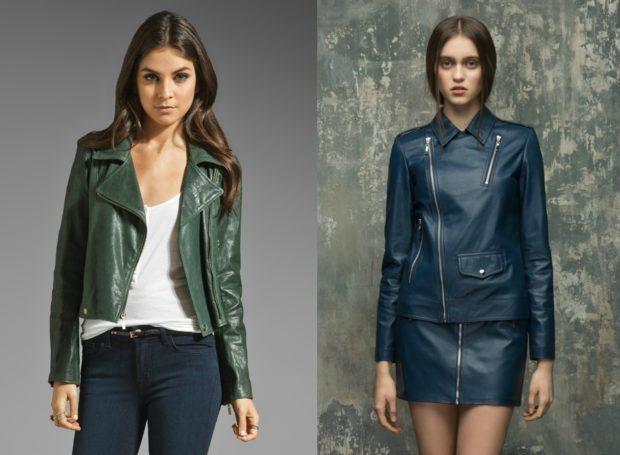 Модные женские куртки 2019-2020 года: куртка косуха зеленая синяя короткие