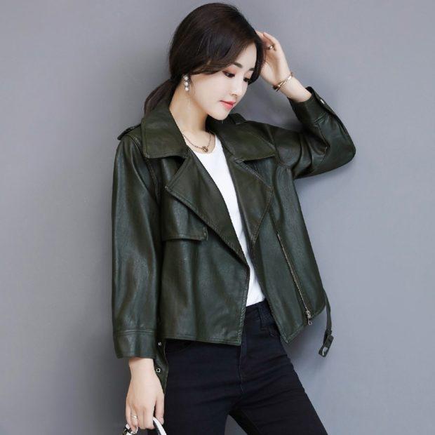 Модные женские куртки 2019-2020 года: куртка кожаная зеленая