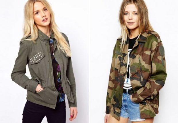 Модные женские куртки 2019-2020 года: стиль милитари серая хаки