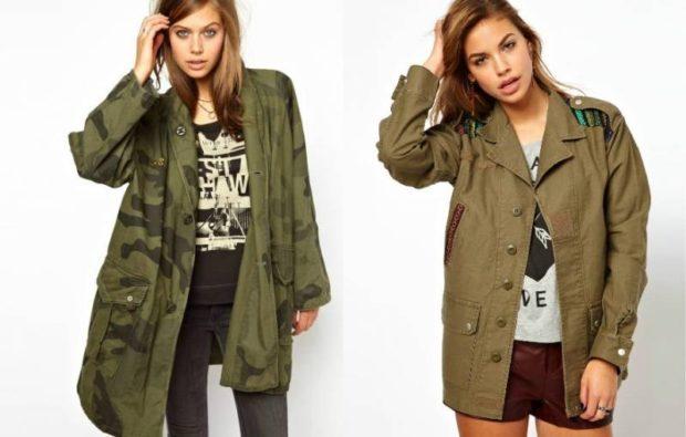 Модные женские куртки 2019-2020 года: стиль милитари хаки зеленая удлиненная