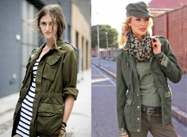 Модные женские куртки 2019-2020 года: стиль милитари зеленая с поясом зеленая на пуговицах