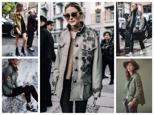 Модные женские куртки 2019-2020 года: стиль милитари куртка зеленая с цветами