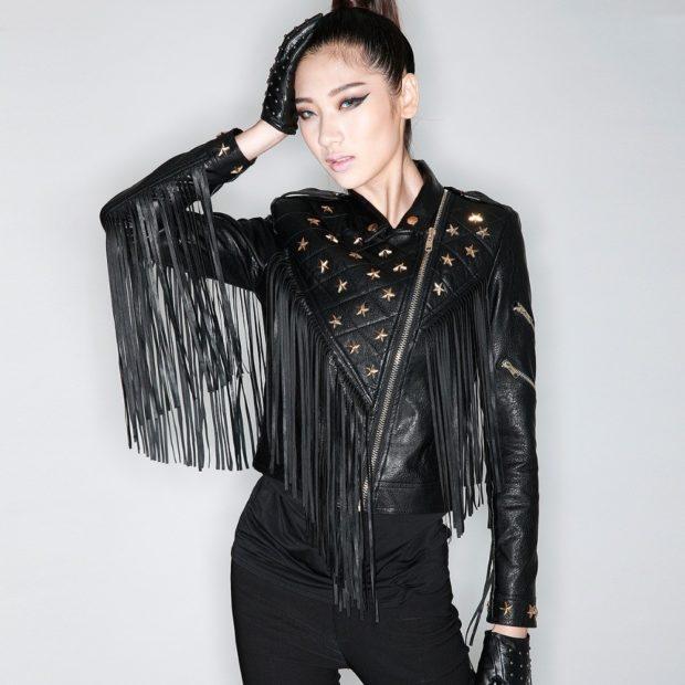 Модные женские куртки 2019-2020 года: куртка кожаная объемные плечи
