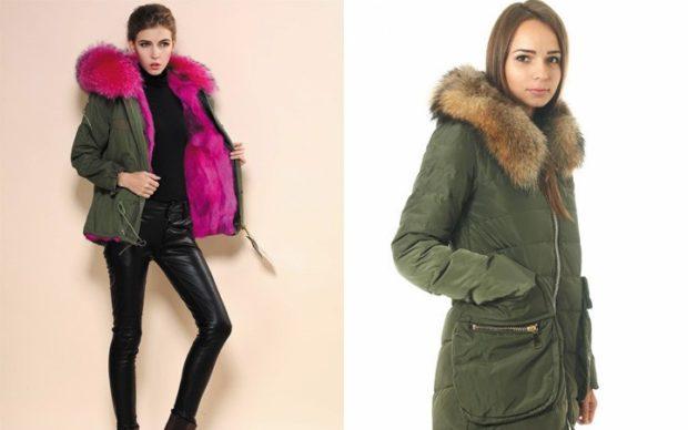 модные женские куртки 2019-2020: зеленая куртка с сиреневым мехом