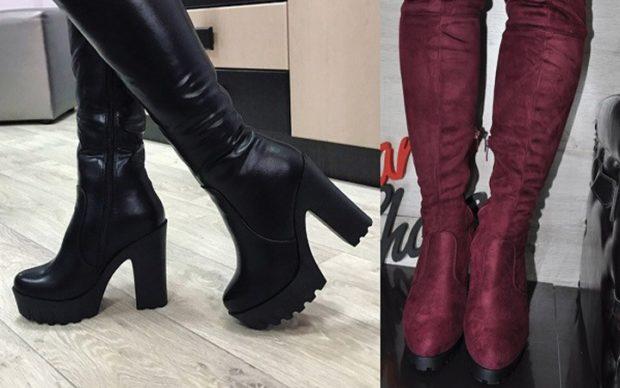 модные сапоги осень зима 2019-2020: сапоги с тракторной подошвой черные бордовые