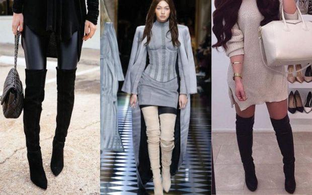 модные сапоги осень зима 2019-2020: сапоги ботфорты черные белые