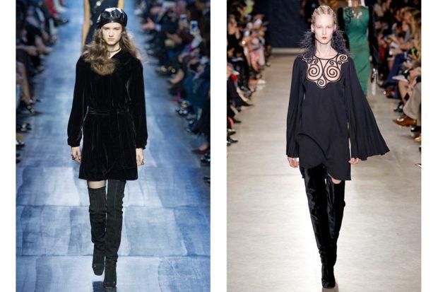модные сапоги осень зима 2019-2020: сапоги ботфорты черные замшевые