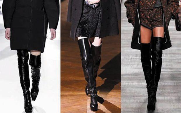модные сапоги осень зима 2019-2020: сапоги ботфорты кожаные черные