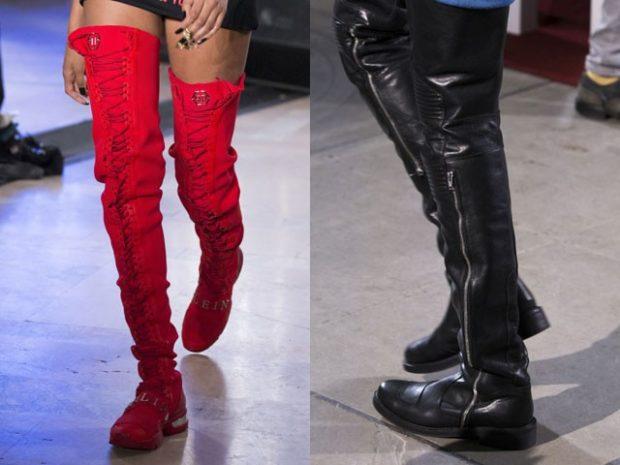 модные сапоги осень зима 2019-2020: сапоги ботфорты красные черные на ровном ходу