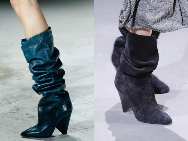 модные сапог осень зима 2019-2020: сапоги со складкой на каблуке синие замшевые серые
