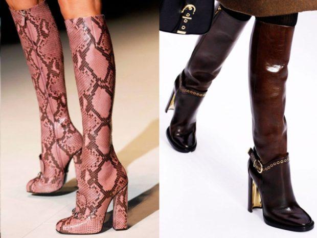 модные сапоги осень зима 2019-2020: сапоги крокодильи на каблуках коричневые