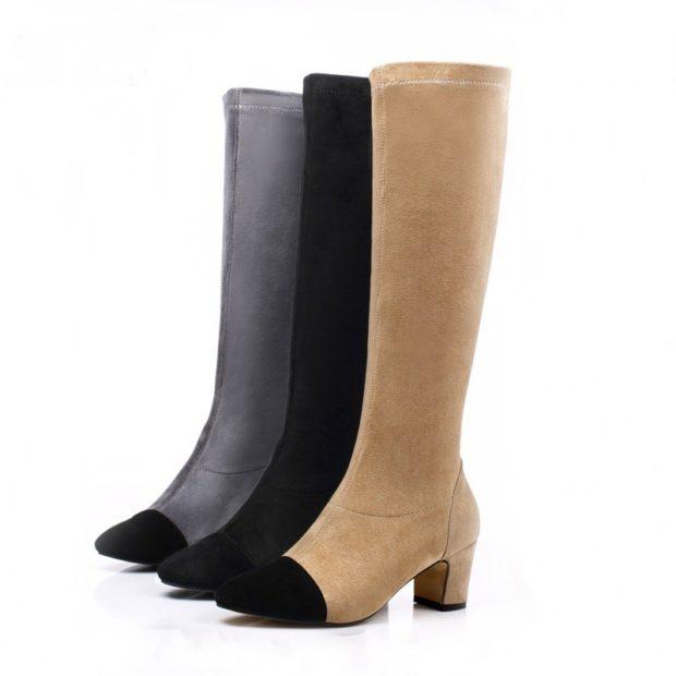 модные сапоги осень зима 2019-2020: сапоги высокие с носками не в том