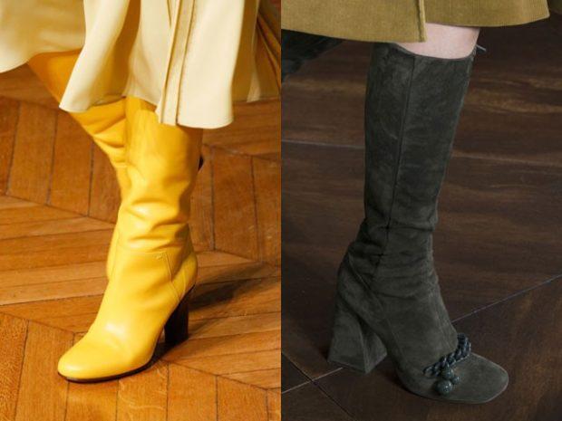модные сапоги осень зима 2019-2020: желтые на каблуке замшевые с бантом