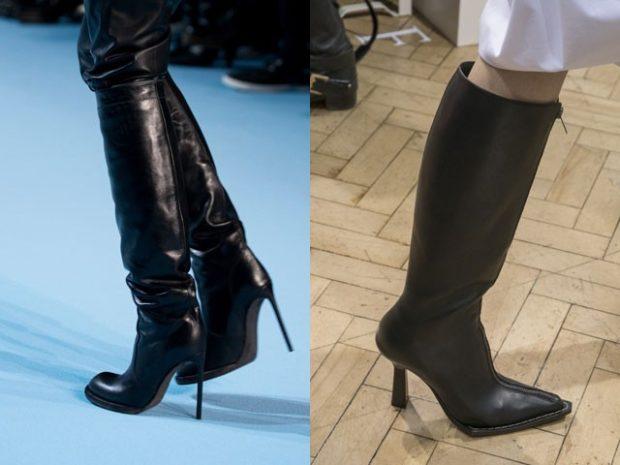 модные сапоги осень зима 2019-2020: сапоги на шпильках черные