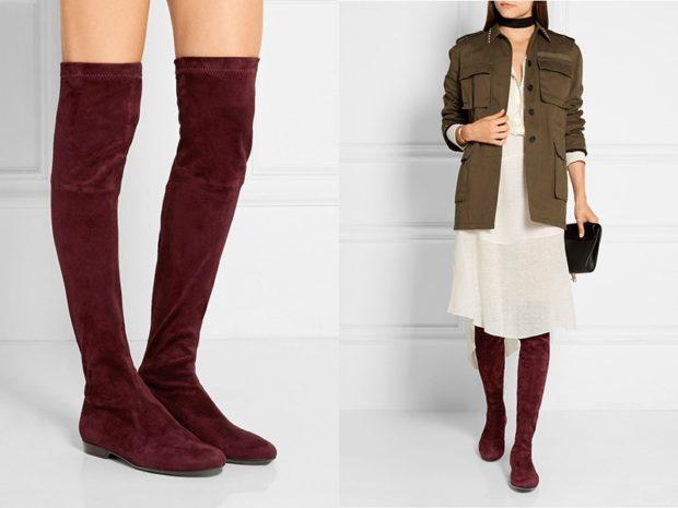 модные сапоги осень зима 2019-2020: сапоги замшевые высокие бордо