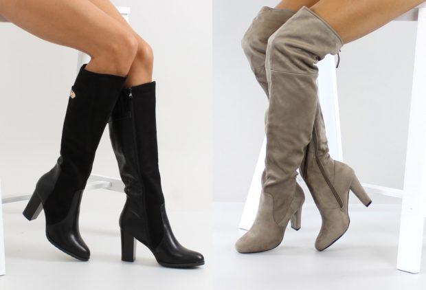 модные сапоги осень зима 2019-2020: сапоги замшевые серые черные замша с кожей