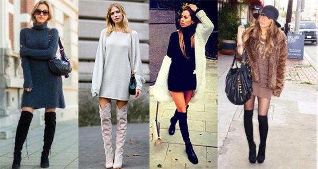 модные сапоги осень зима 2019-2020: сапоги замшевые высокие черные серые под платья