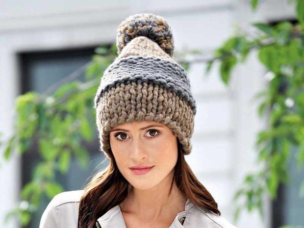 модные вязанные шапки: вязанная шапка с помпоном крупная вязка
