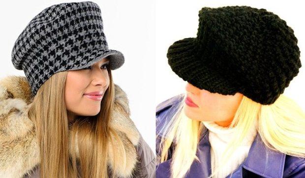 модные вязанные шапки 2018: шапки с козырьков черные