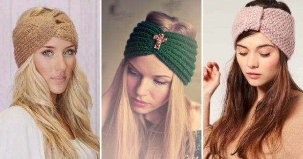 модные вязанные шапки 2018: полоска на голову бежевая зеленая розовая