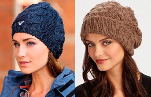 модные высеянные шапки 2018:шапка синяя коричневая