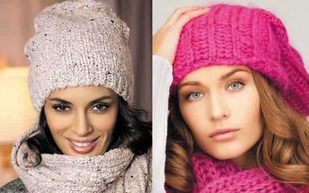 модные зимние шапки 2018: шапка вязанная светлая, розовая с шарфами