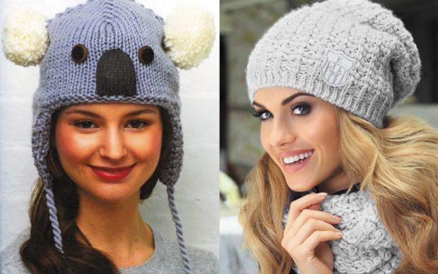 модные зимние шапки 2018: шапки вязанные с ушками серая