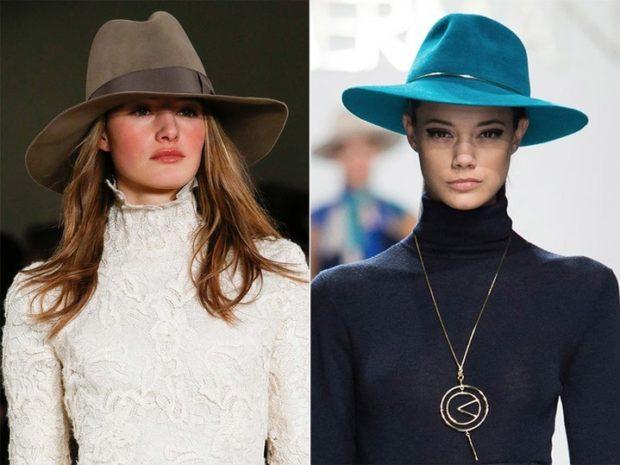 Модные зимние шапки в 2018 году: шляпа с полями коричневая с лентой синяя с полоской тонкой