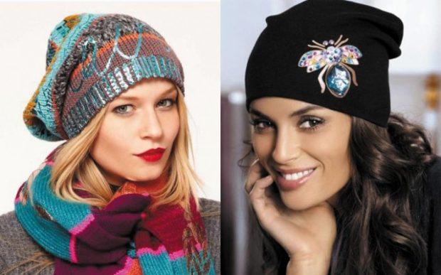 модные зимние шапки 2019-2020: шапки трикотажные цветная черная с украшением