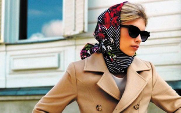 Модные зимние шапки в 2018 году: платок черный в цветы