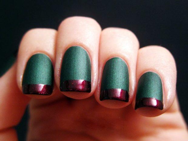 Новогодний маникюр 2020 года: ногти мягкий квадрат зеленые с бордо