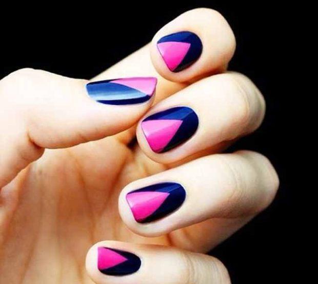 новогодний дизайн ногтей 2018: треугольник черный с розовым