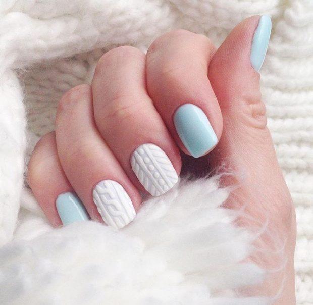 новогодний дизайн ногтей 2018: белая вязка объемная