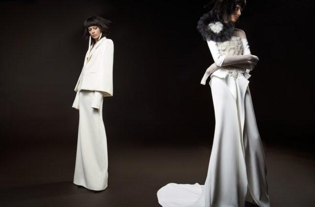 Коллекция свадебных платьев Vera Wang Spring/Summer 2018 года:The Claude белое с цветком черным на плече