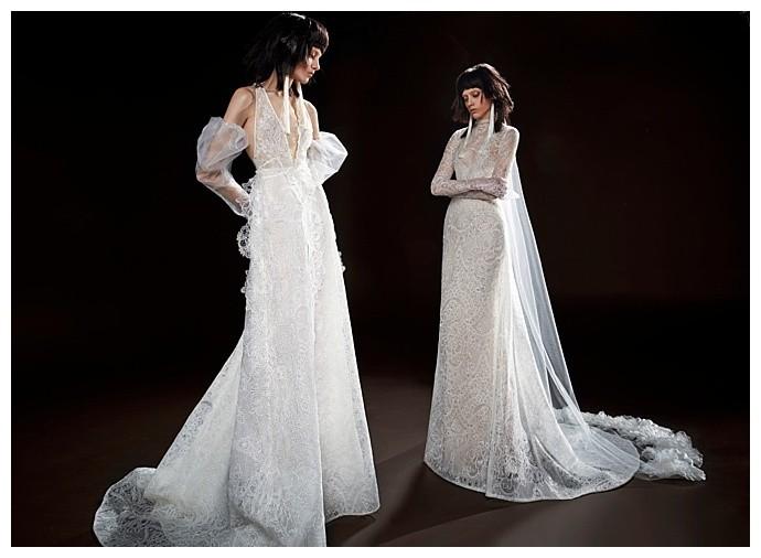 Коллекция свадебных платьев Vera Wang Spring/Summer 2018 года: The Celestine белое с кружевами рукава фанарики