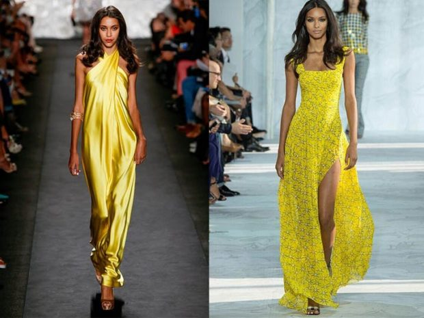 в чем встречать новый год 2018: платья желтые в пол открытые плечи