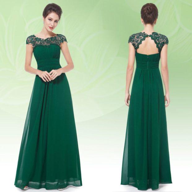 в чем встречать новый год 2018: платье в пол зеленое