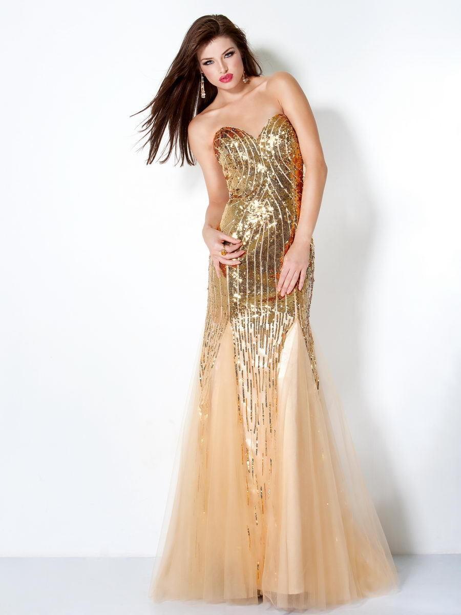 в чем встречать новый год 2018: платье длинное золотое юбка шифон
