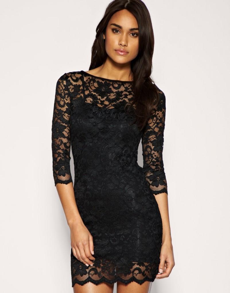 в чем встречать новый год 2018: черное платье гипюровое футляр