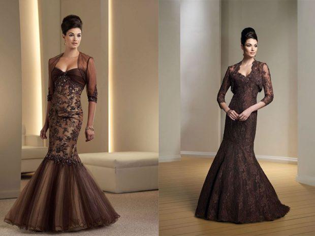 в чем встречать новый год 2018: платье коричневое юбка хвост