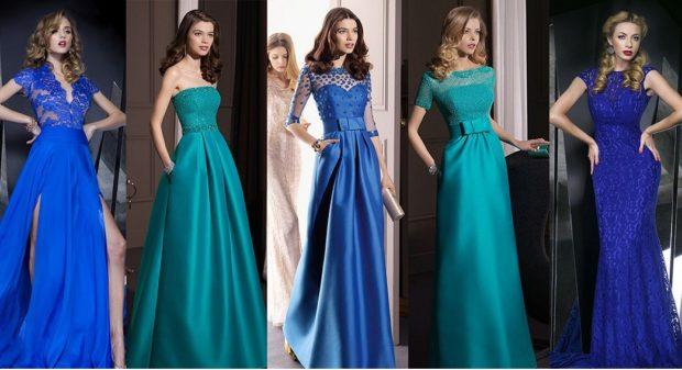 в чем встречать новый год 2018: платья синие длинные с плечами без
